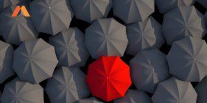 guarda chuva com um colorido no meio construindo a sua atoridade